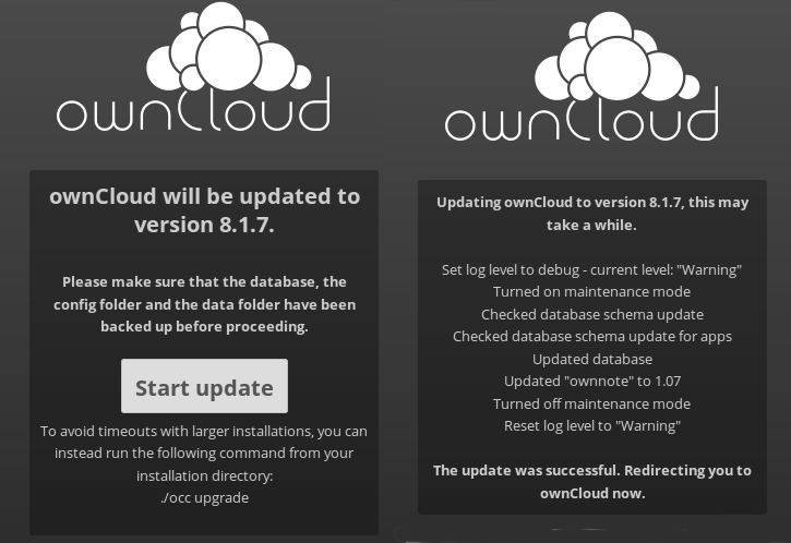 Update messages from ownCloud
